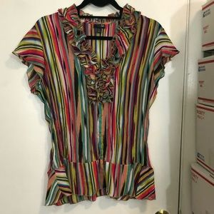 East 5th Striped Pleated Ruffle Blouse
